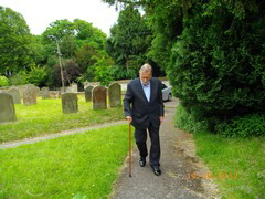Kevin Smyth entering the churchyard
