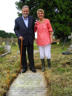 Kevin and Yvonne at a familiar spot- Henry Solly's grave